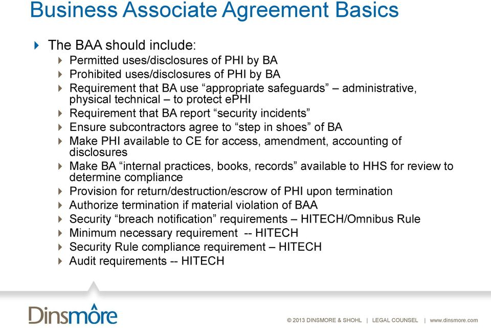 accounting of disclosures Make BA internal practices, books, records available to HHS for review to determine compliance Provision for return/destruction/escrow of PHI upon termination Authorize
