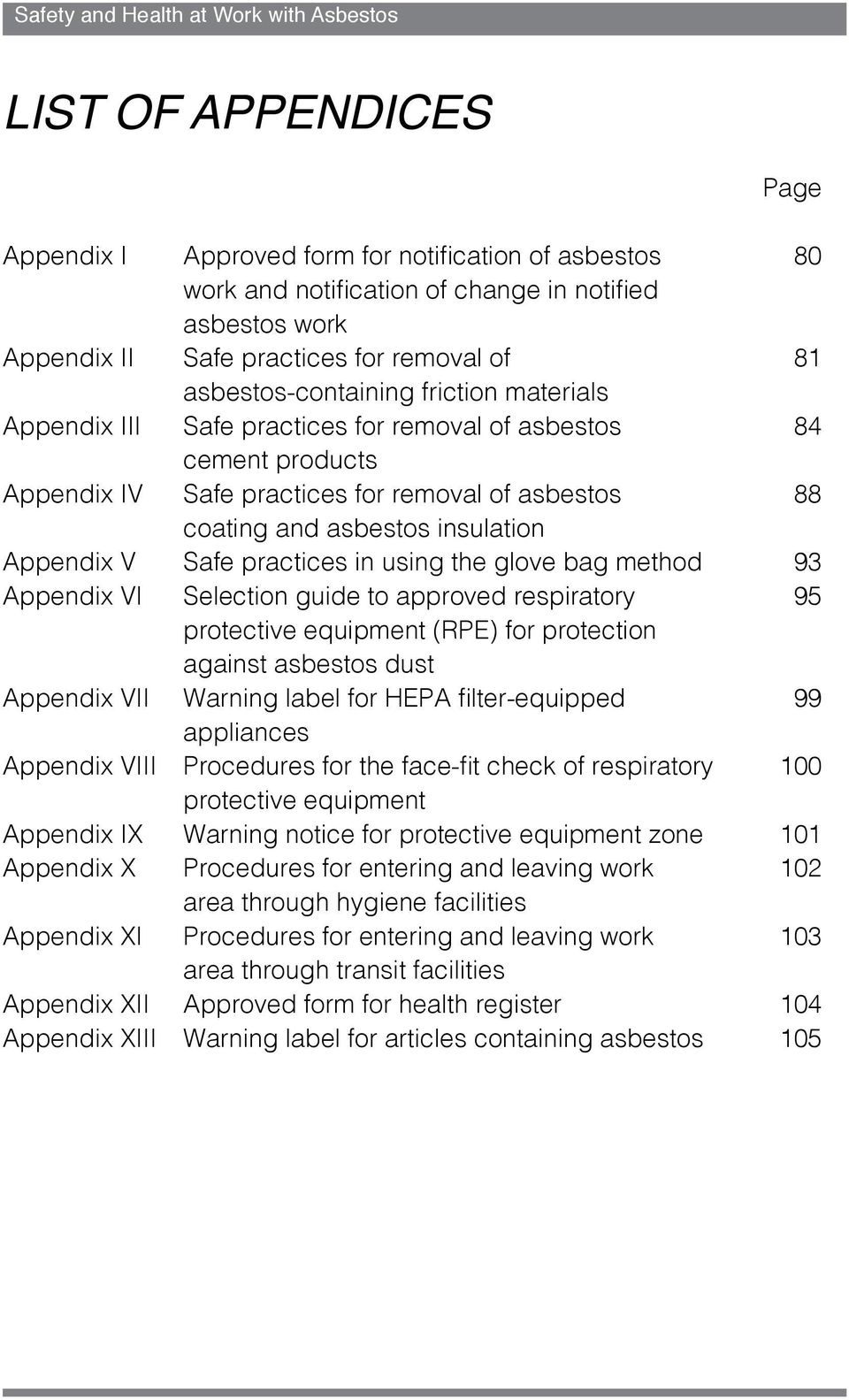 Appendix V Safe practices in using the glove bag method 93 Appendix VI Selection guide to approved respiratory 95 protective equipment (RPE) for protection against asbestos dust Appendix VII Warning