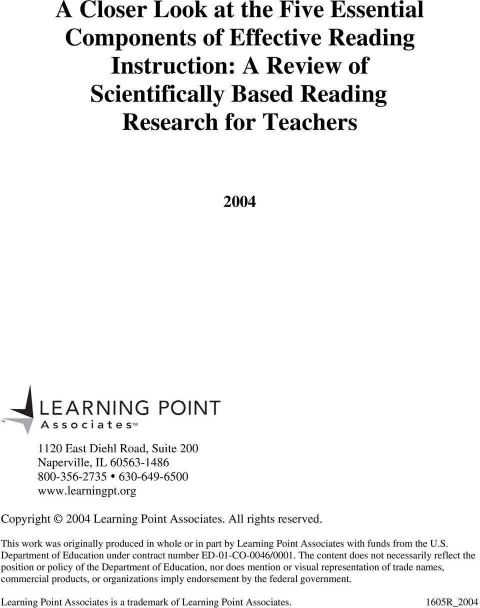 This work was originally produced in whole or in part by Learning Point Associates with funds from the U.S. Department of Education under contract number ED-01-CO-0046/0001.