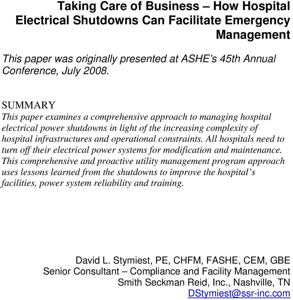 Taking Care Of Business How Hospital Electrical Shutdowns Can To Shut Off Your Electricity In An Emergency All Hospitals Need Turn Their Power Systems For Modification And Maintenance