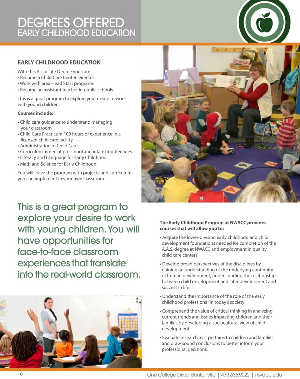 Courses include: Child care guidance to understand managing your classroom Child Care Practicum 100 hours of experience in a licensed child care facility Administration of Child Care Curriculum aimed