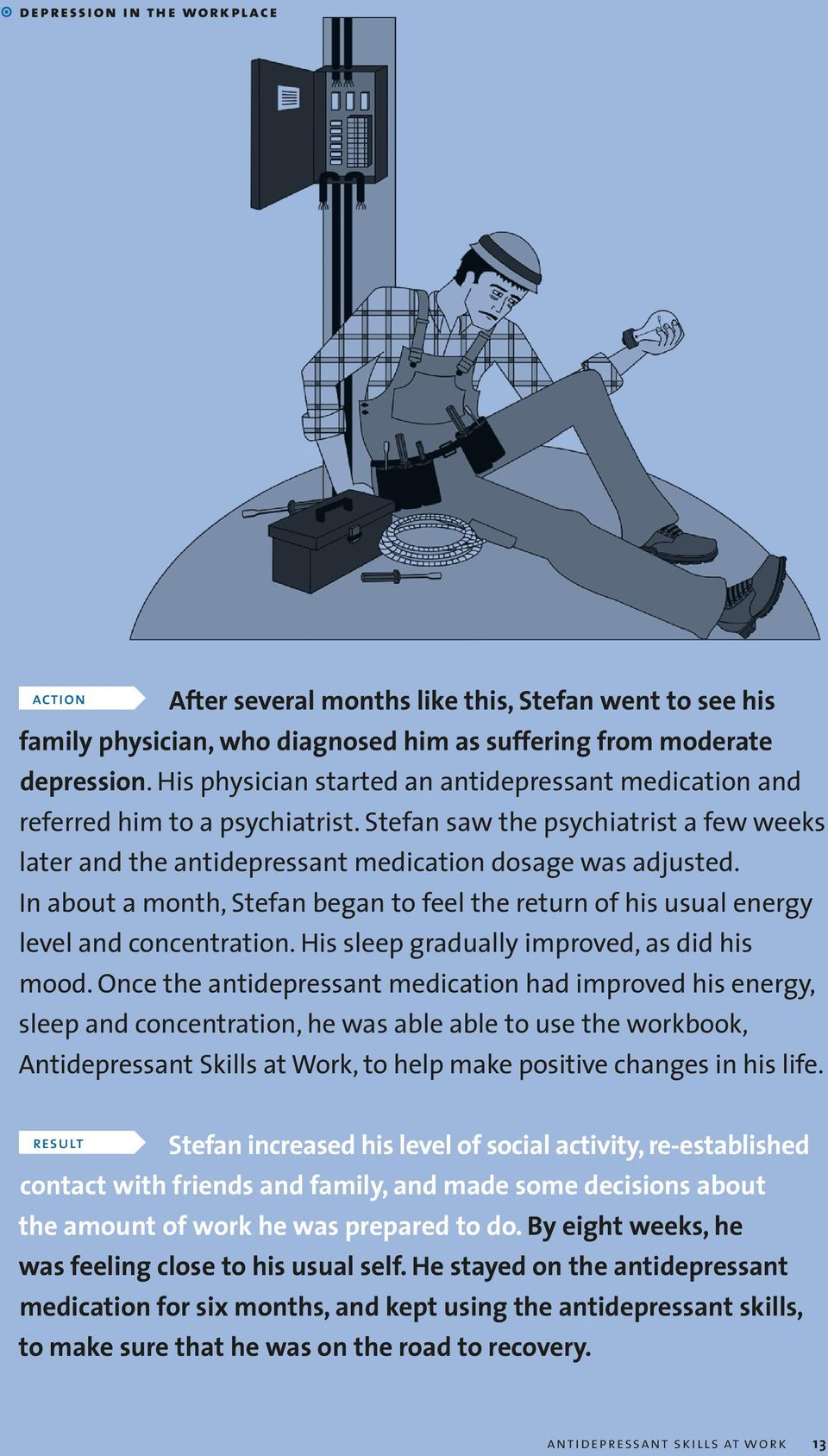 In about a month, Stefan began to feel the return of his usual energy level and concentration. His sleep gradually improved, as did his mood.