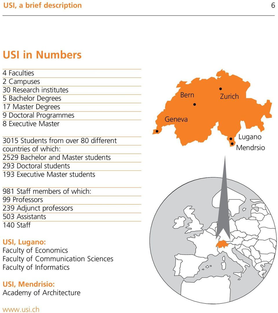 193 Executive Master students 981 Staff members of which: 99 Professors 239 Adjunct professors 503 Assistants 140 Staff USI, Lugano: Faculty of