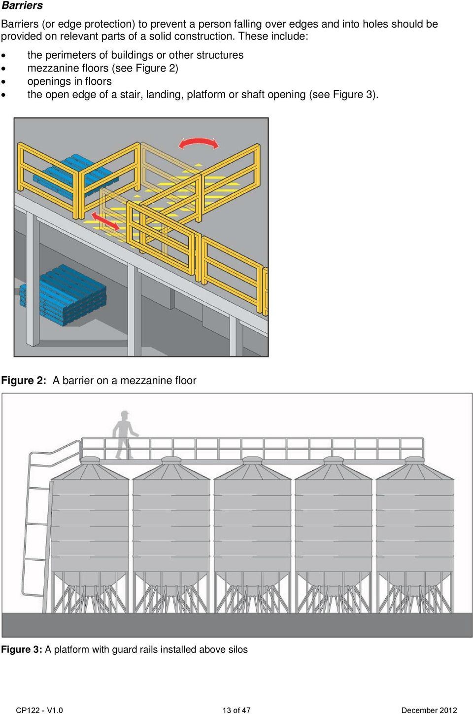 These include: the perimeters of buildings or other structures mezzanine floors (see Figure 2) openings in floors the