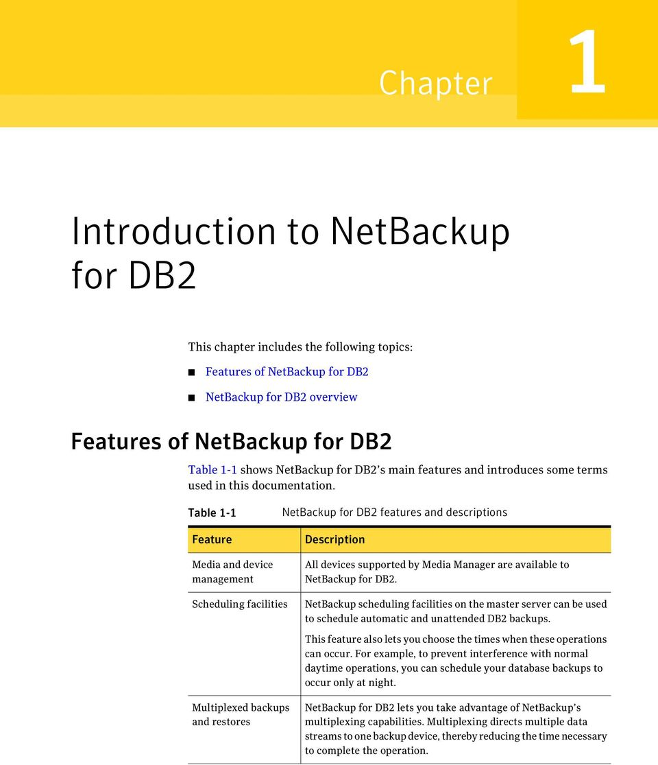 Table 1-1 Feature Media and device management NetBackup for DB2 features and descriptions Description All devices supported by Media Manager are available to NetBackup for DB2.