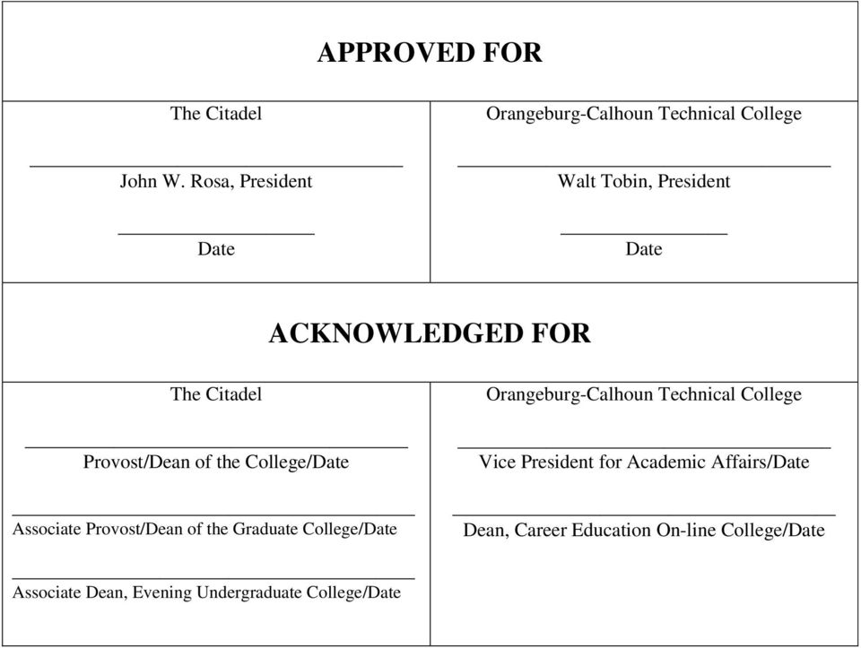 The Citadel _ Provost/Dean of the College/Date Associate Provost/Dean of the Graduate College/Date