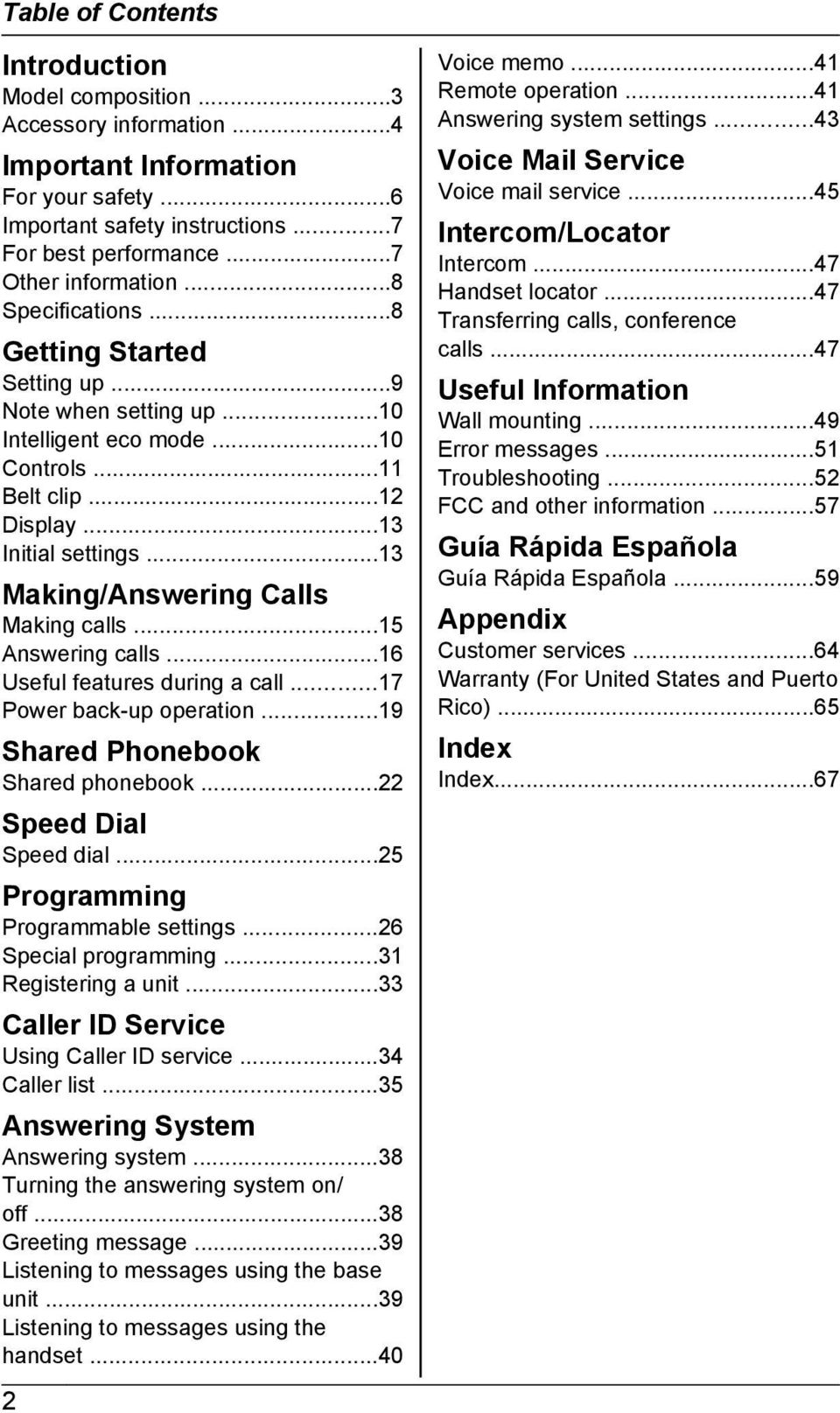 ..13 Making/Answering Calls Making calls...15 Answering calls...16 Useful features during a call...17 Power back-up operation...19 Shared Phonebook Shared phonebook...22 Speed Dial Speed dial.