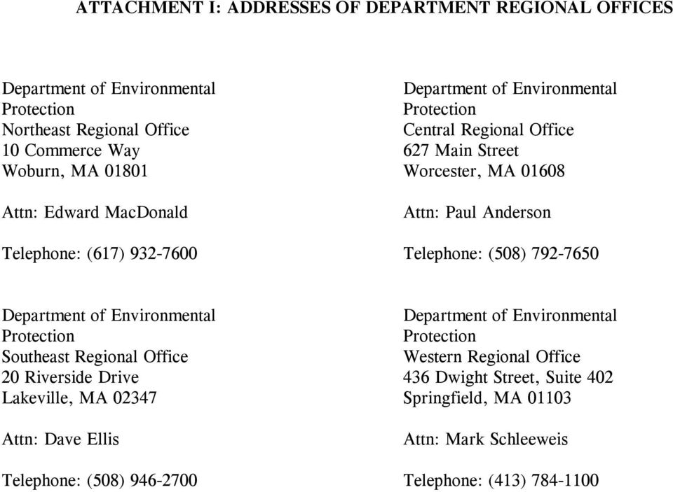 Telephone: (508) 792-7650 Department of Environmental Protection Southeast Regional Office 20 Riverside Drive Lakeville, MA 02347 Attn: Dave Ellis Telephone: (508)