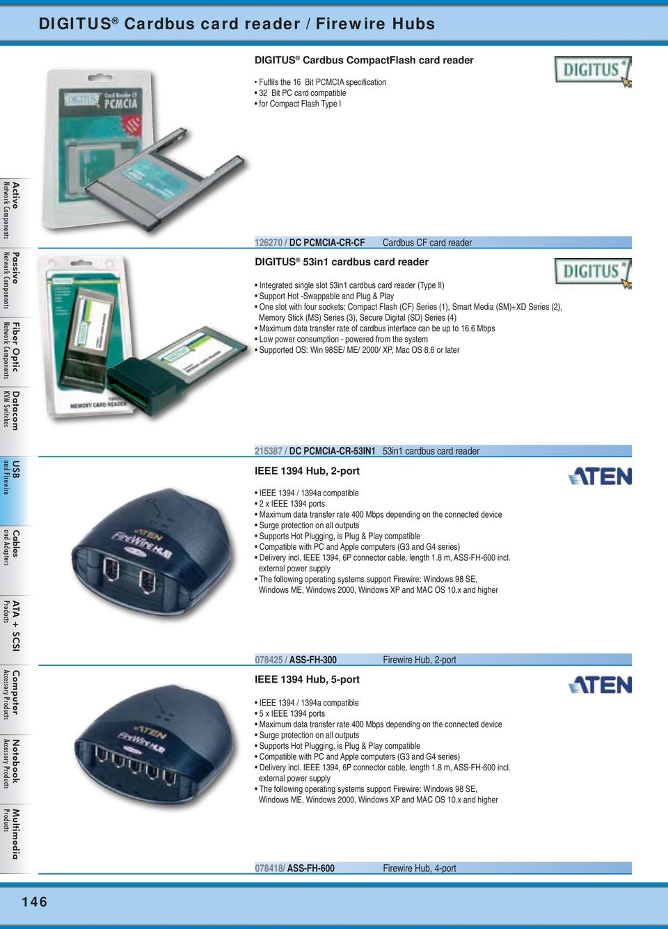 Compact Flash (CF) Series (1), Smart Media (SM)+XD Series (2), Memory Stick (MS) Series (3), Secure Digital (SD) Series (4) Maximum data transfer rate of cardbus interface can be up to 16.