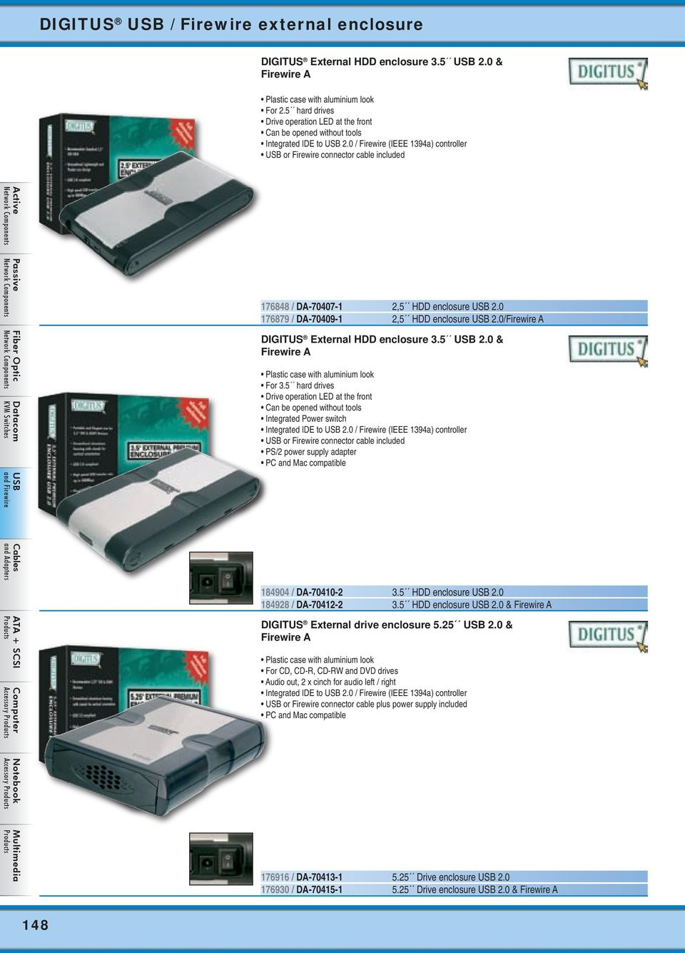 0 / Firewire (IEEE 1394a) controller or Firewire connector cable included 176848 / DA-70407-1 2,5 HDD enclosure 2.0 176879 / DA-70409-1 2,5 HDD enclosure 2.
