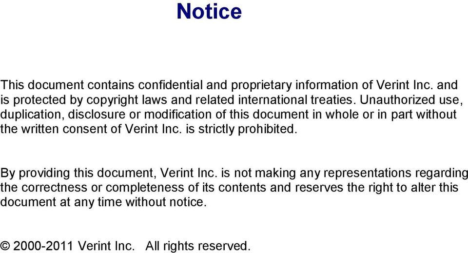 Unauthorized use, duplication, disclosure or modification of this document in whole or in part without the written consent of Verint Inc.