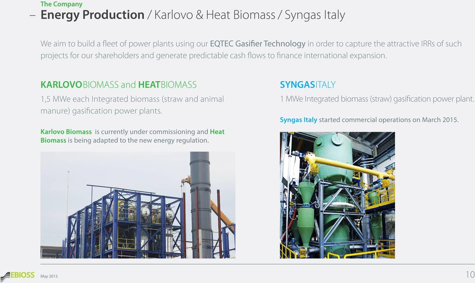 KARLOVOBIOMASS and HEATBIOMASS 1,5 MWe each Integrated biomass (straw and animal manure) gasification power plants.
