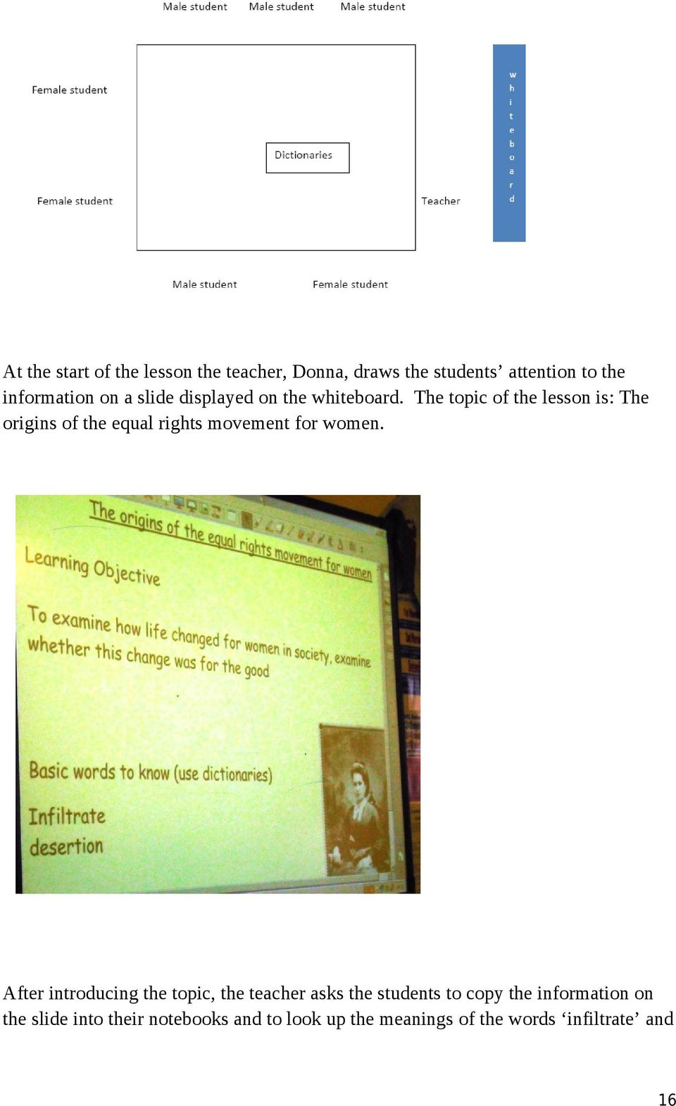 The topic of the lesson is: The origins of the equal rights movement for women.