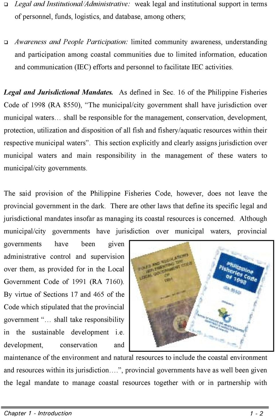 Legal and Jurisdictional Mandates. As defined in Sec.