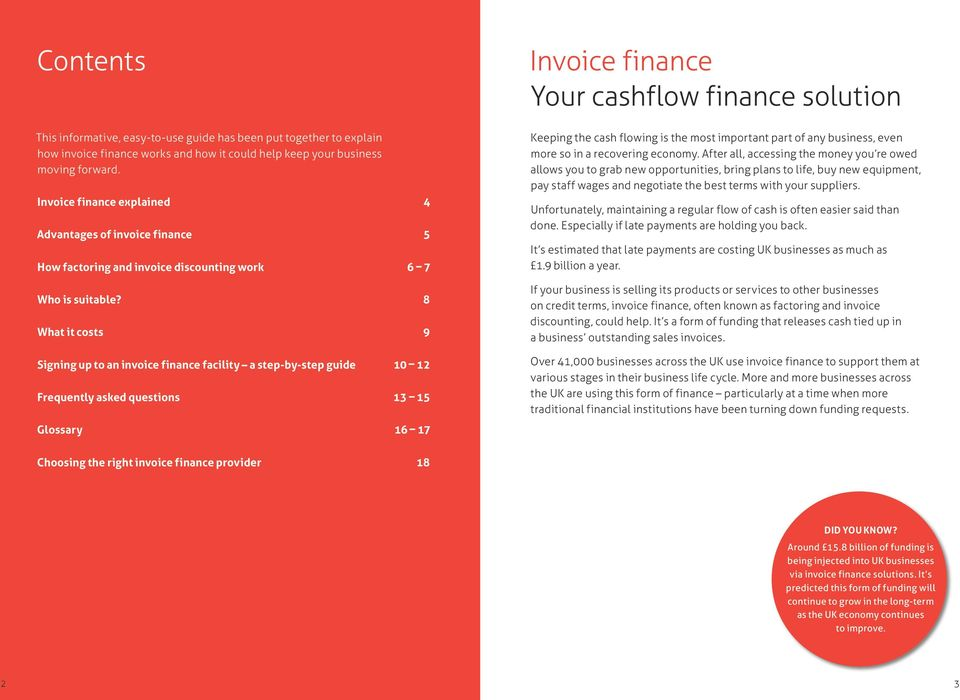 8 What it costs 9 Signing up to an invoice finance facility a step-by-step guide 10 12 Frequently asked questions 13 15 Glossary 16 17 Invoice finance Your cashflow finance solution Keeping the cash