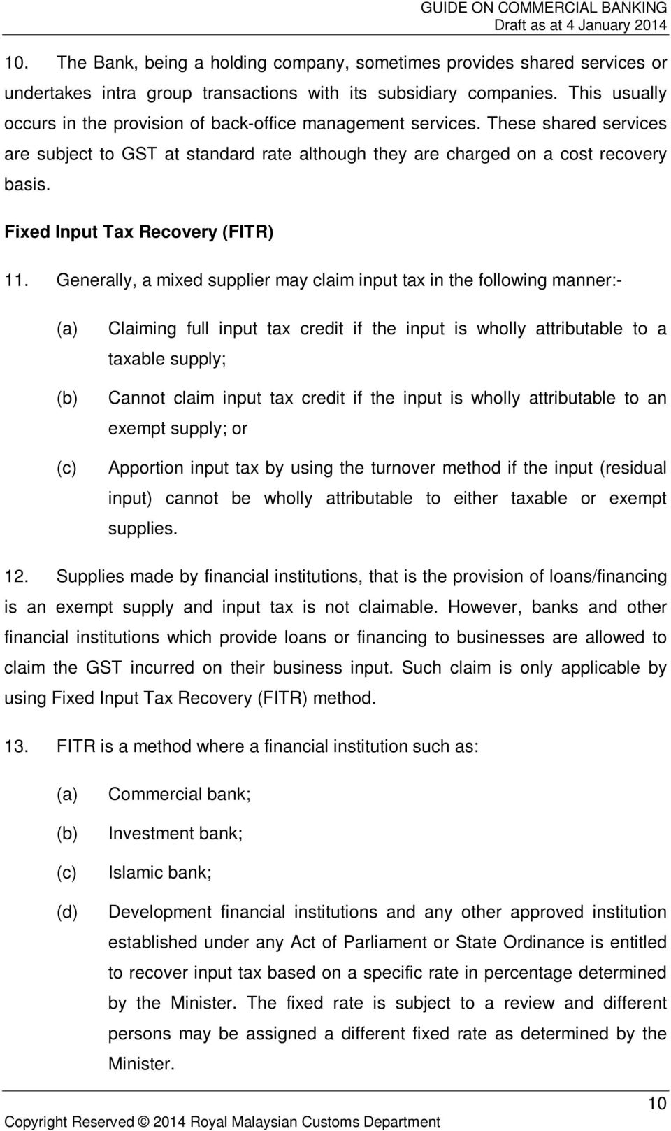 Fixed Input Tax Recovery (FITR) 11.