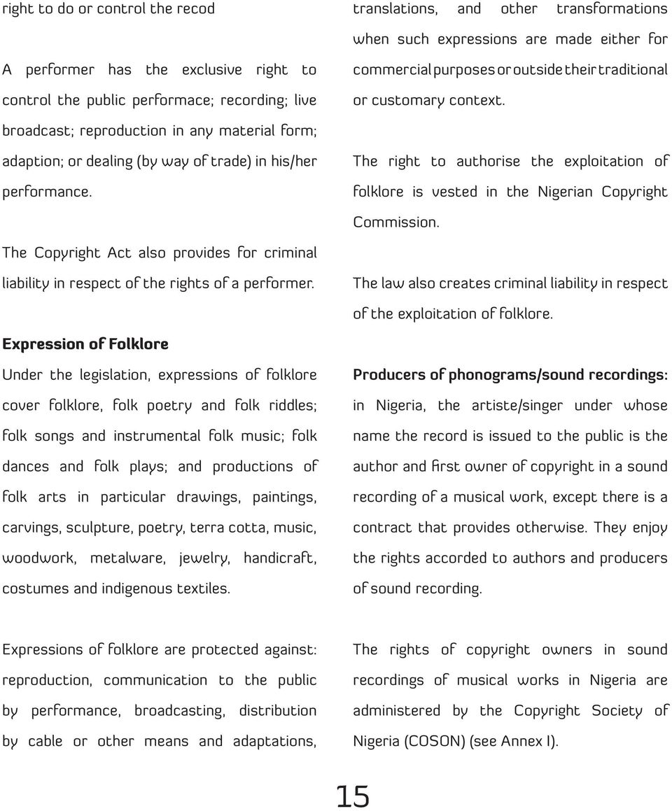 The right to authorise the exploitation of folklore is vested in the Nigerian Copyright Commission. The Copyright Act also provides for criminal liability in respect of the rights of a performer.