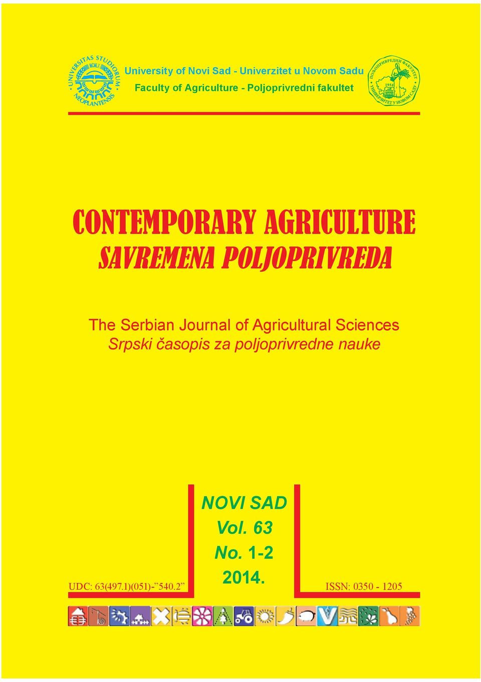 The Serbian Journal of Agricultural Sciences Srpski časopis za