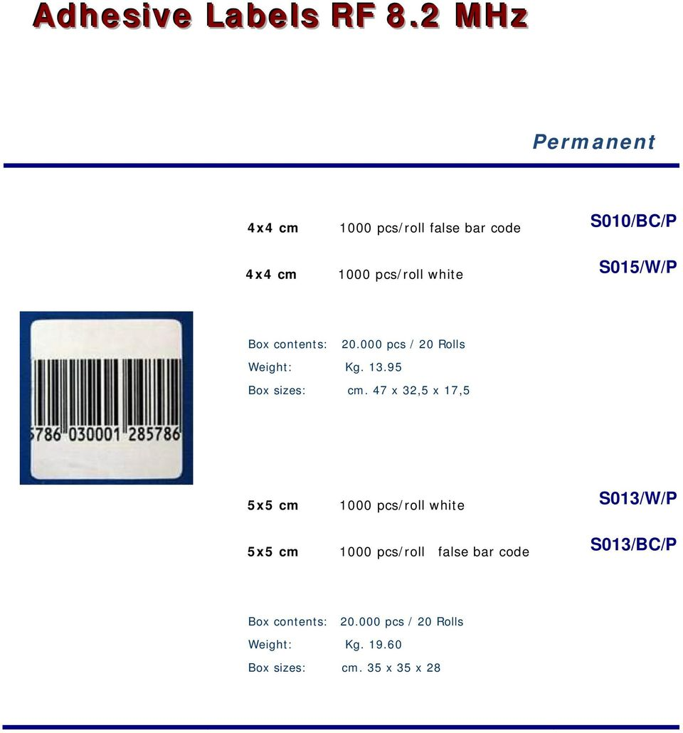 S010/BC/P S015/W/P 20.000 pcs / 20 Rolls Weight: Kg. 13.95 Box sizes: cm.