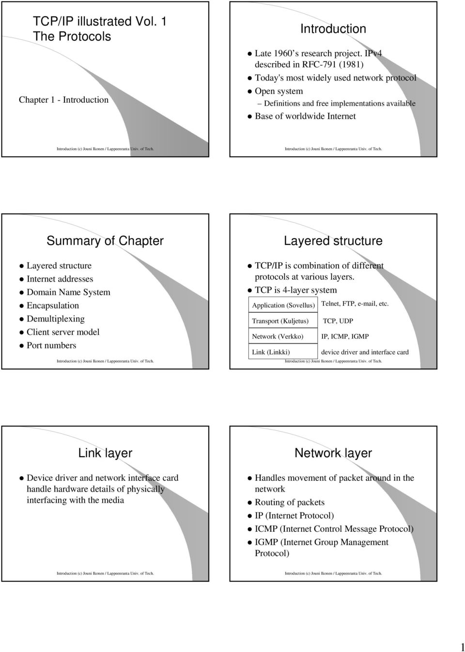 Introduction (c) Jouni Ikonen / Summary of Chapter Layered structure Layered structure Internet addresses Domain Name System Encapsulation Demultiplexing Client server model Port numbers Introduction