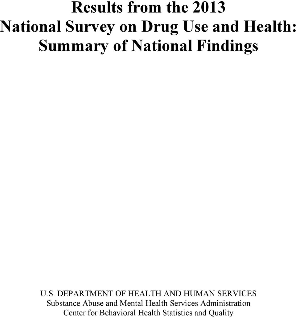 HUMAN SERVICES Substance Abuse and Mental Health Services