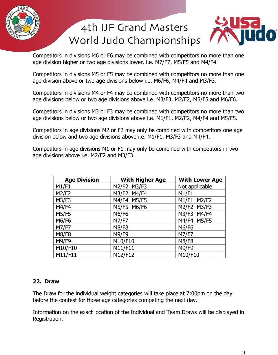 Competitors in divisions M3 or F3 may be combined with competitors no more than two age divisions below or two age divisions above i.e. M1/F1, M2/F2, M4/F4 and M5/F5.