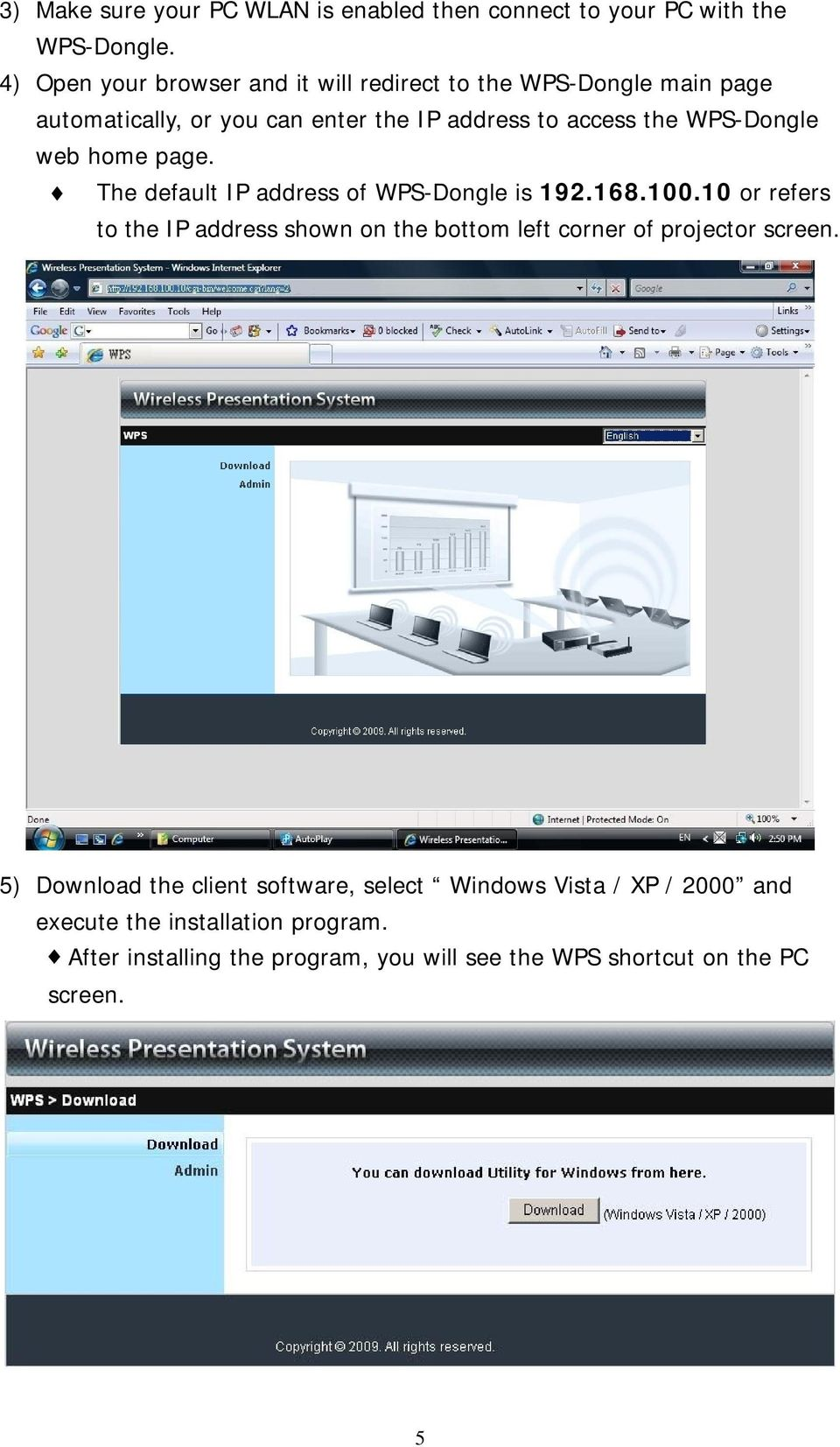 WPS-Dongle web home page. The default IP address of WPS-Dongle is 192.168.100.
