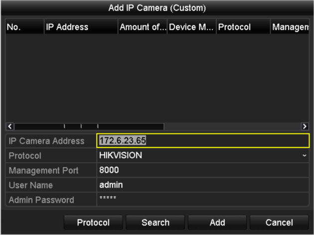 2) Click the button to add the camera. Explanation of the icons: Icon Explanation Icon Explanation Edit basic parameters of the camera Add the detected IP camera.