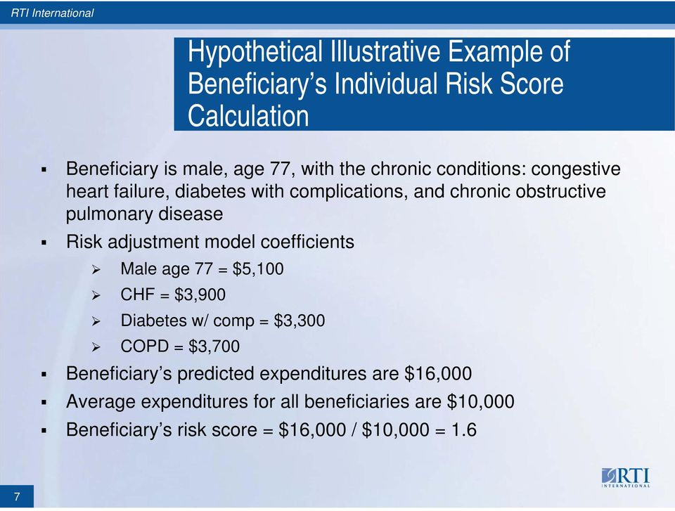 adjustment model coefficients Male age 77 = $5,100 CHF = $3,900 Diabetes w/ comp = $3,300 COPD = $3,700 Beneficiary s