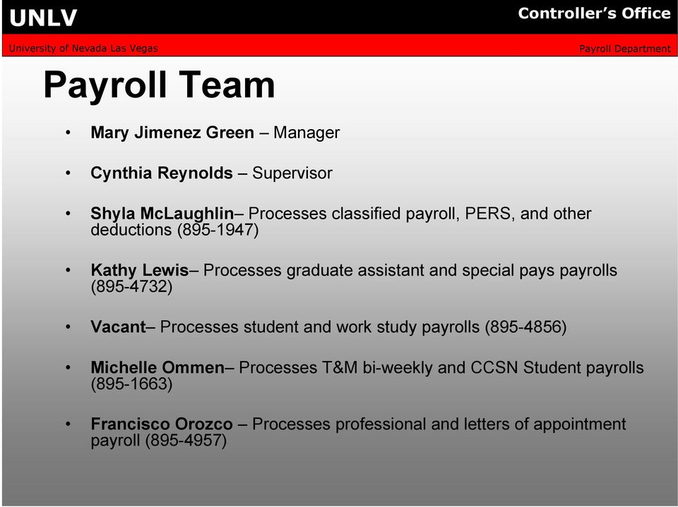 payrolls (895-4732) Vacant Processes student and work study payrolls (895-4856) Michelle Ommen Processes T&M