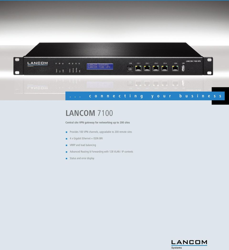 Gigabit Ethernet + ISDN BRI 1 VRRP and load balancing 1 Advanced