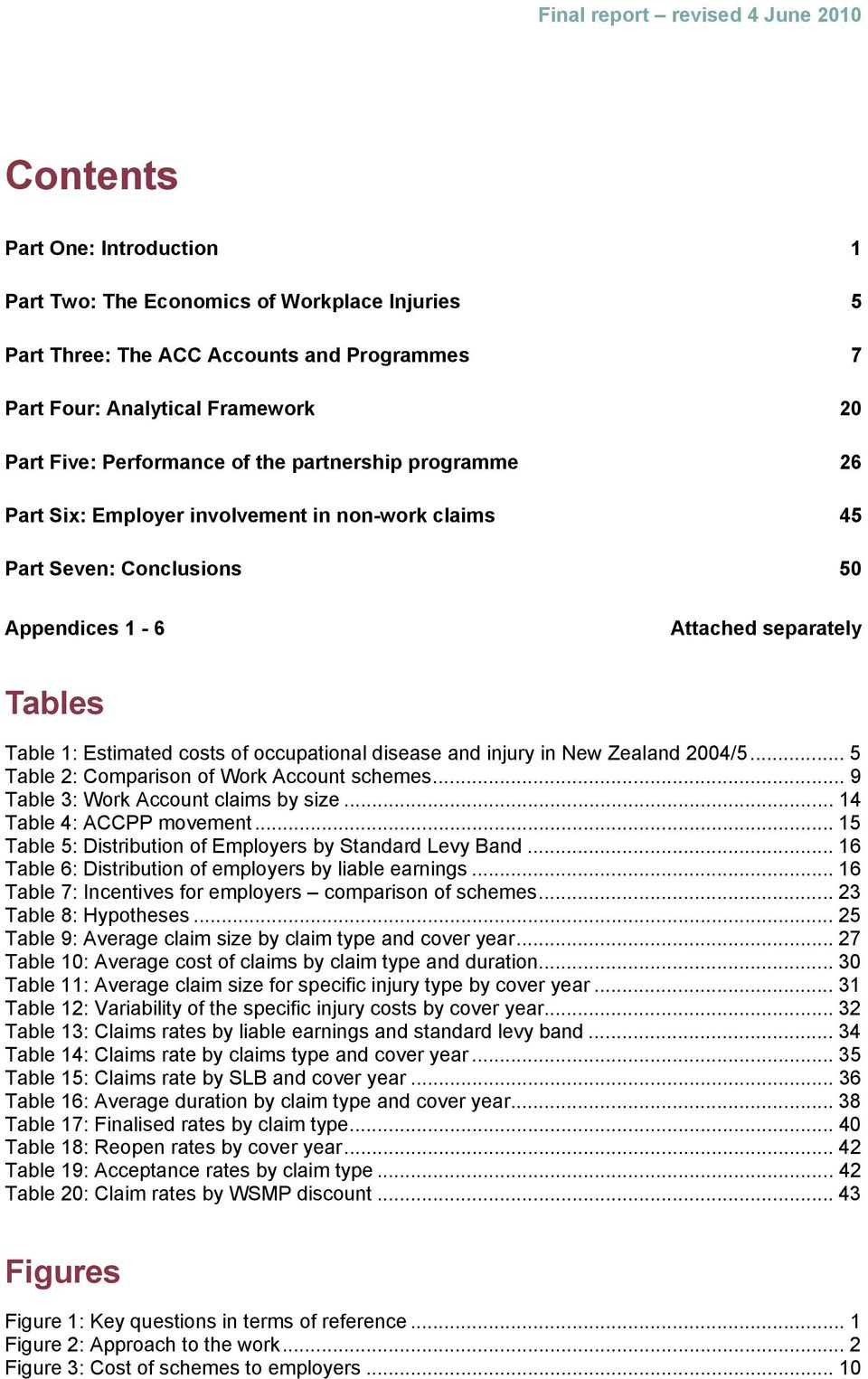 injury in New Zealand 2004/5... 5 Table 2: Comparison of Work Account schemes... 9 Table 3: Work Account claims by size... 14 Table 4: ACCPP movement.