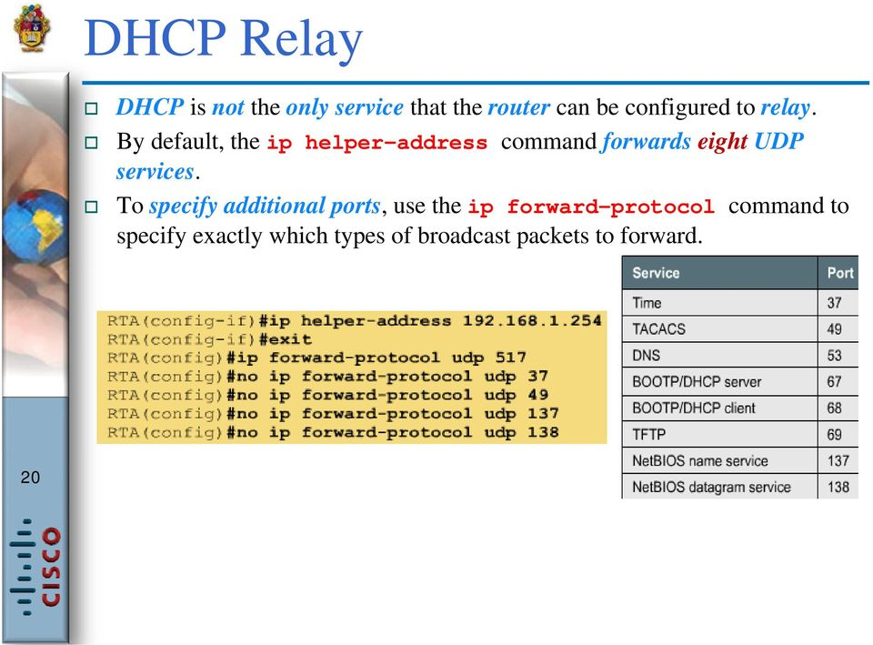 By default, the ip helper-address command forwards eight UDP services.