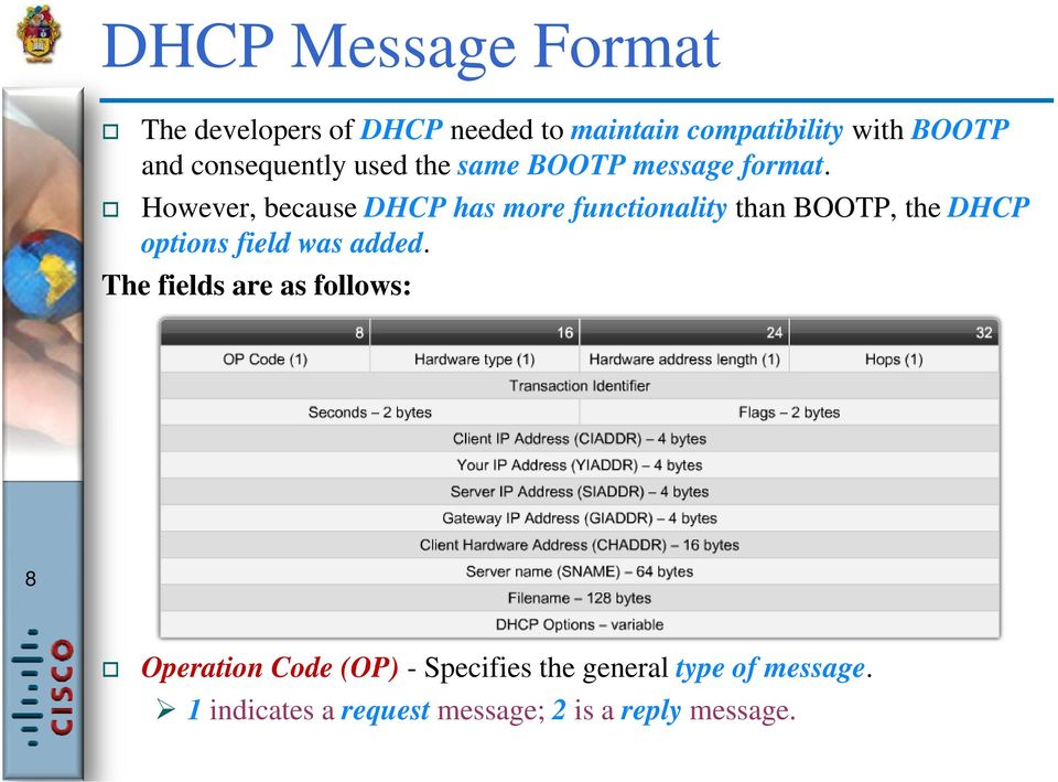 However, because DHCP has more functionality than BOOTP, the DHCP options field was added.