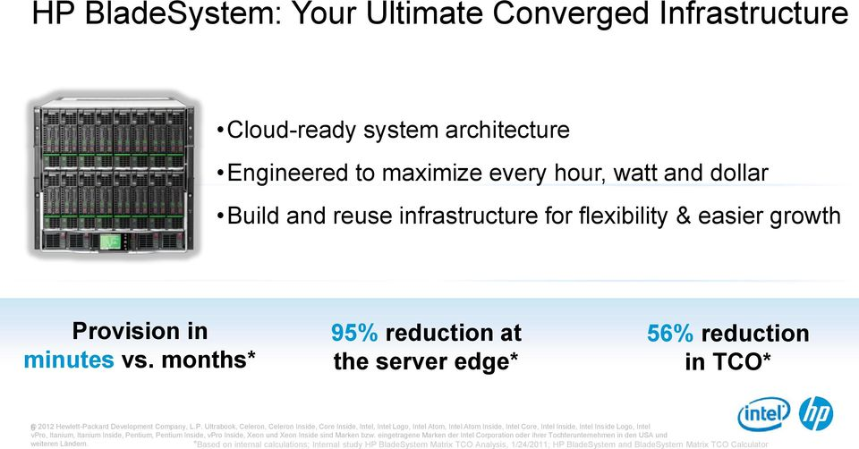months* 95% reduction at the server edge* 56% reduction in TCO* 6 2012 Hewlett-Pa