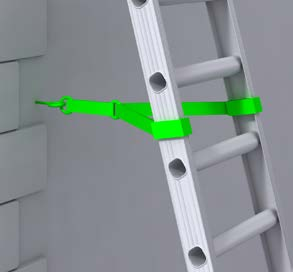 sure both stiles are tied, see Figures 6, 7 and 8; where this is not practical, secure with an effective ladder stability device; if this is not possible, then securely wedge the ladder, eg wedge the