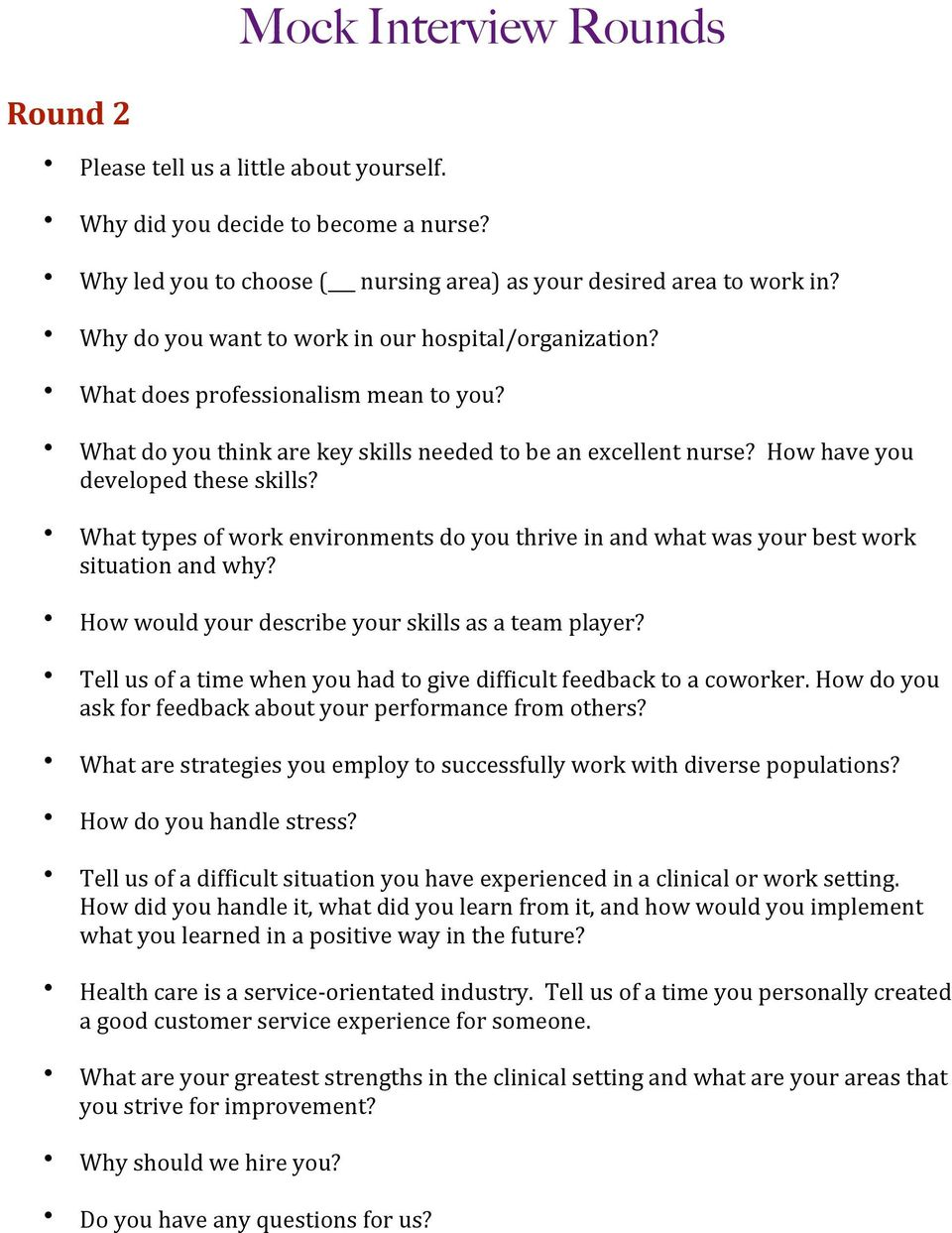 nursing interview success packet pdf what types of work environments do you thrive in and what was your best work situation