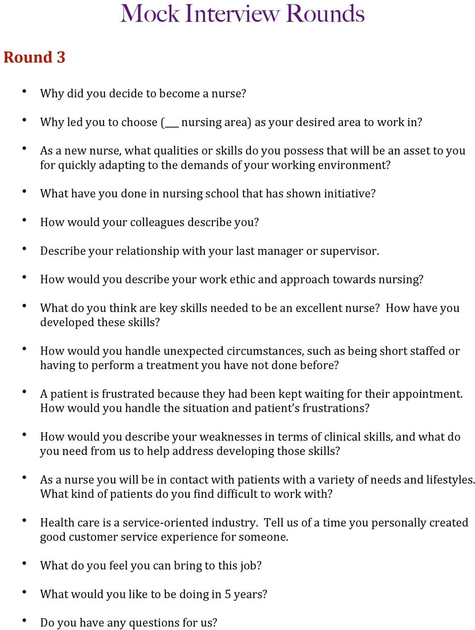 nursing interview success packet pdf what have you done in nursing school that has shown initiative how would your colleagues