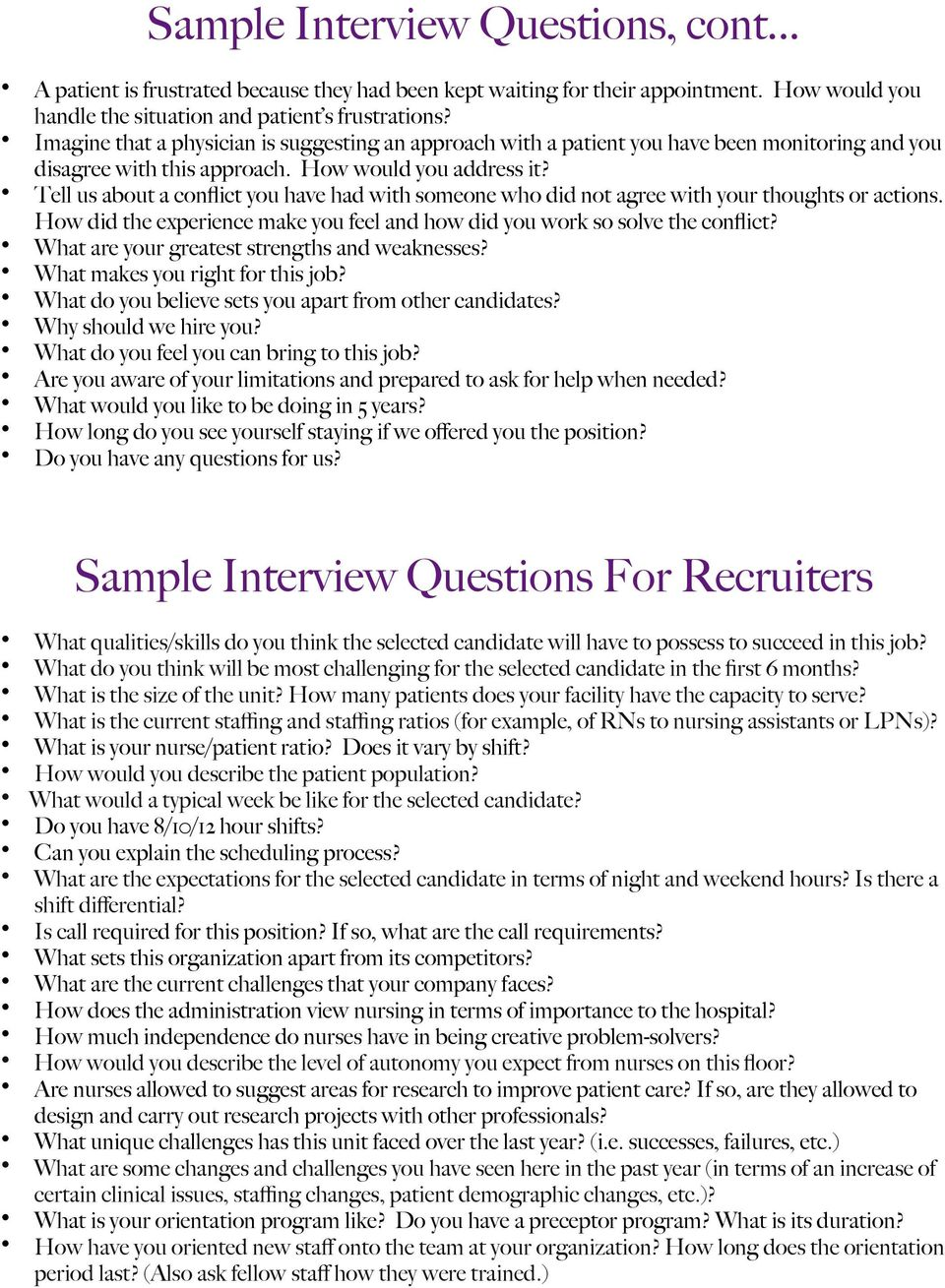 nursing interview success packet pdf tell us about a conflict you have had someone who did not agree your 9 sample interview questions