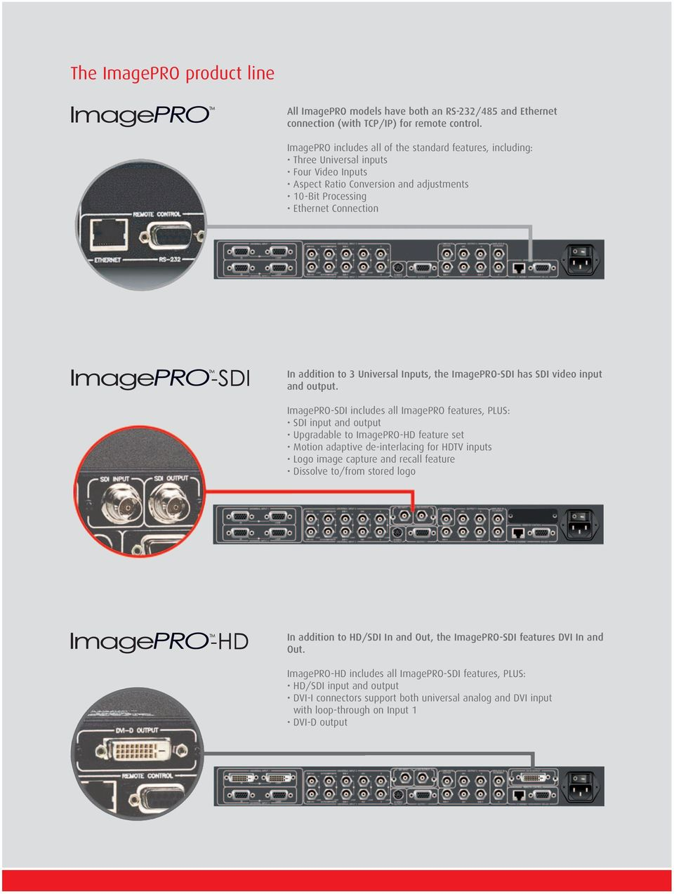 Universal Inputs, the ImagePRO-SDI has SDI video input and output.