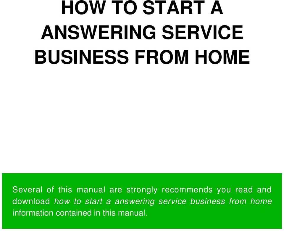read and download how to start a answering service