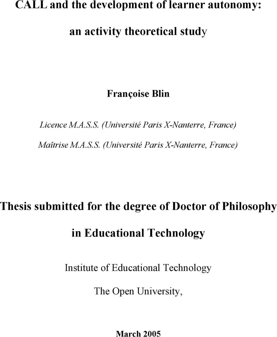 autonomy thesis + philosophy Abstract title of dissertation: identification and autonomy: a meditation on the philosophy of harry frankfurt teresa marie chandler, doctor of philosophy, 2004.
