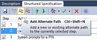 Alternative Path Creation 1. We shall now create an Alternate Path when a User inserts an invalid card by mistake. 2. Select Step 2 and create an Alternate Path.