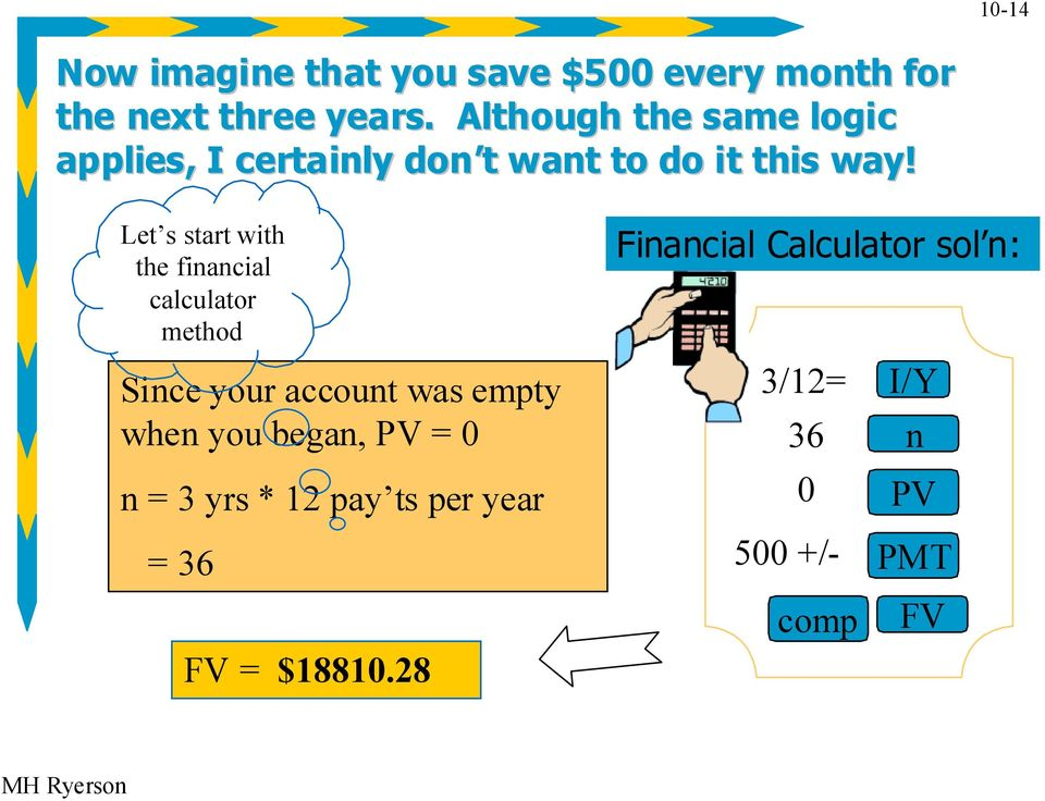 Let s start with the financial calculator method Since your account was empty when you