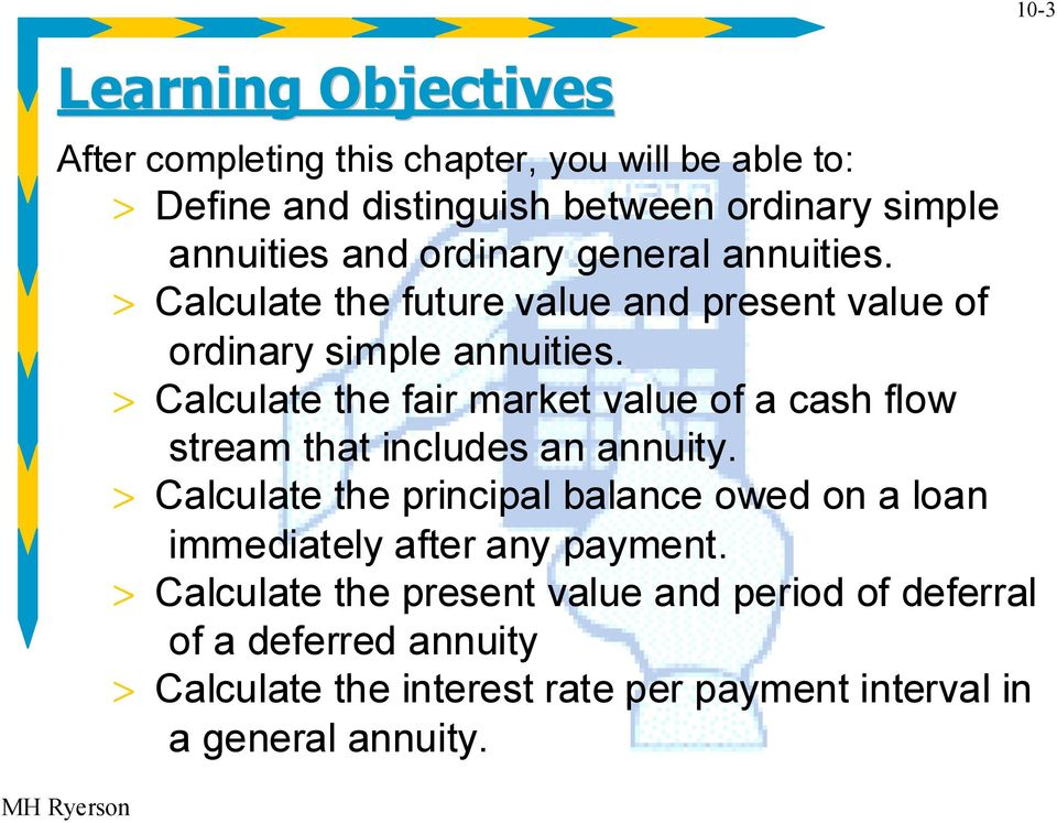 > Calculate the fair market value of a cash flow stream that includes an annuity.