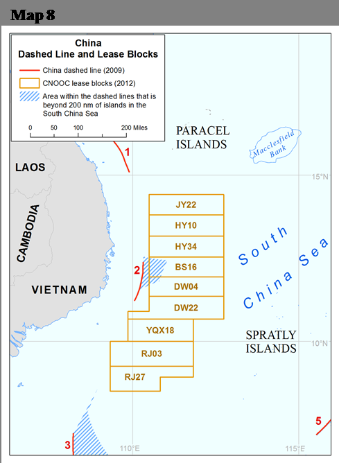 17 under Article 121 and questions of maritime boundary delimitation, portions of two of these blocks (BS16, DW04) extend without explanation to waters that are beyond 200 nm from any Chinese-claimed