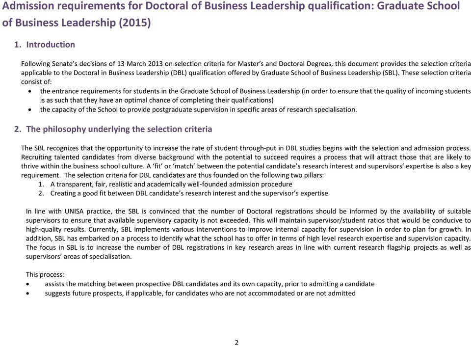 Business Leadership (DBL) qualification offered by Graduate School of Business Leadership (SBL).