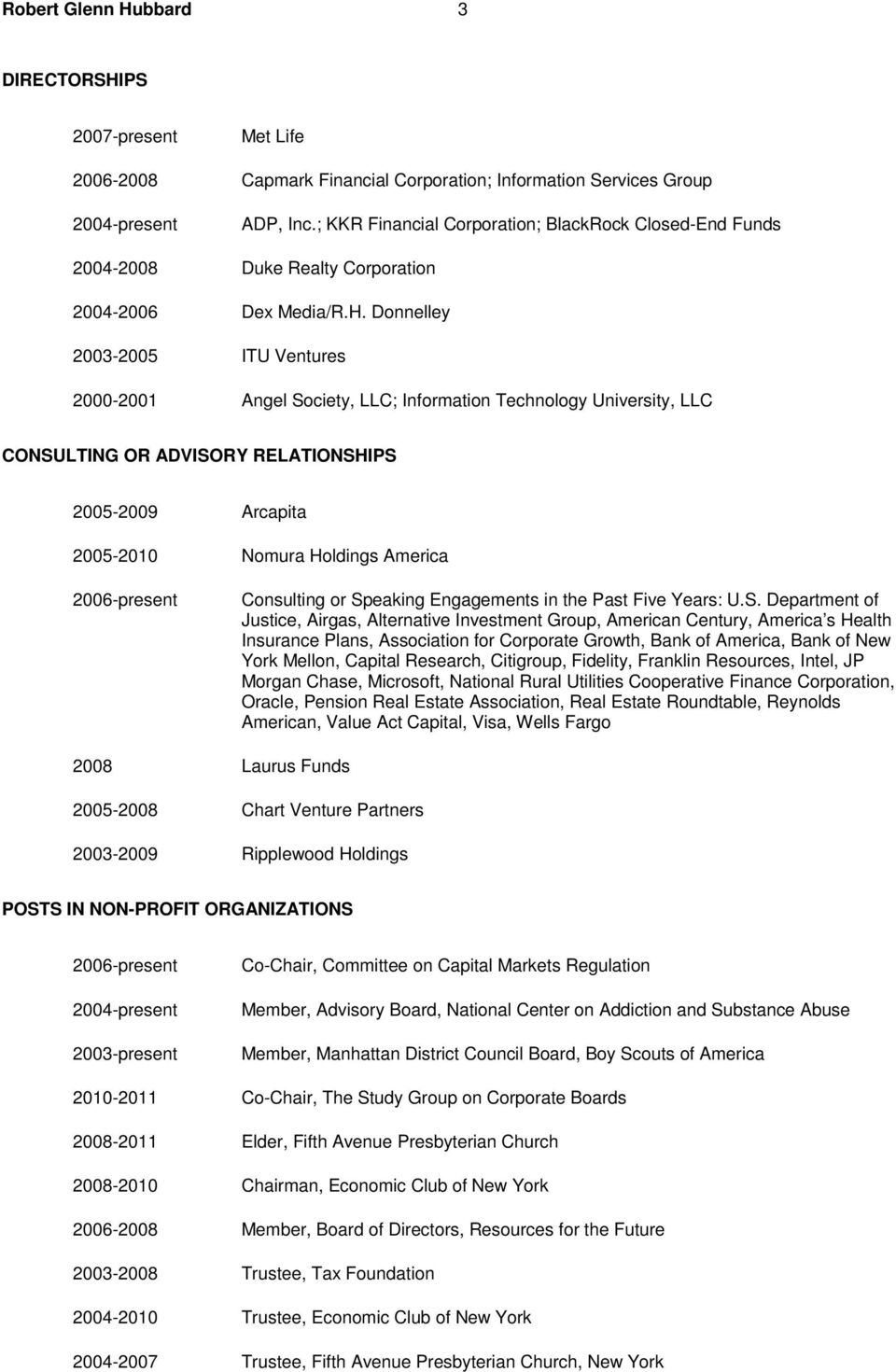 Donnelley 2003-2005 ITU Ventures 2000-2001 Angel Society, LLC; Information Technology University, LLC CONSULTING OR ADVISORY RELATIONSHIPS 2005-2009 Arcapita 2005-2010 Nomura Holdings America