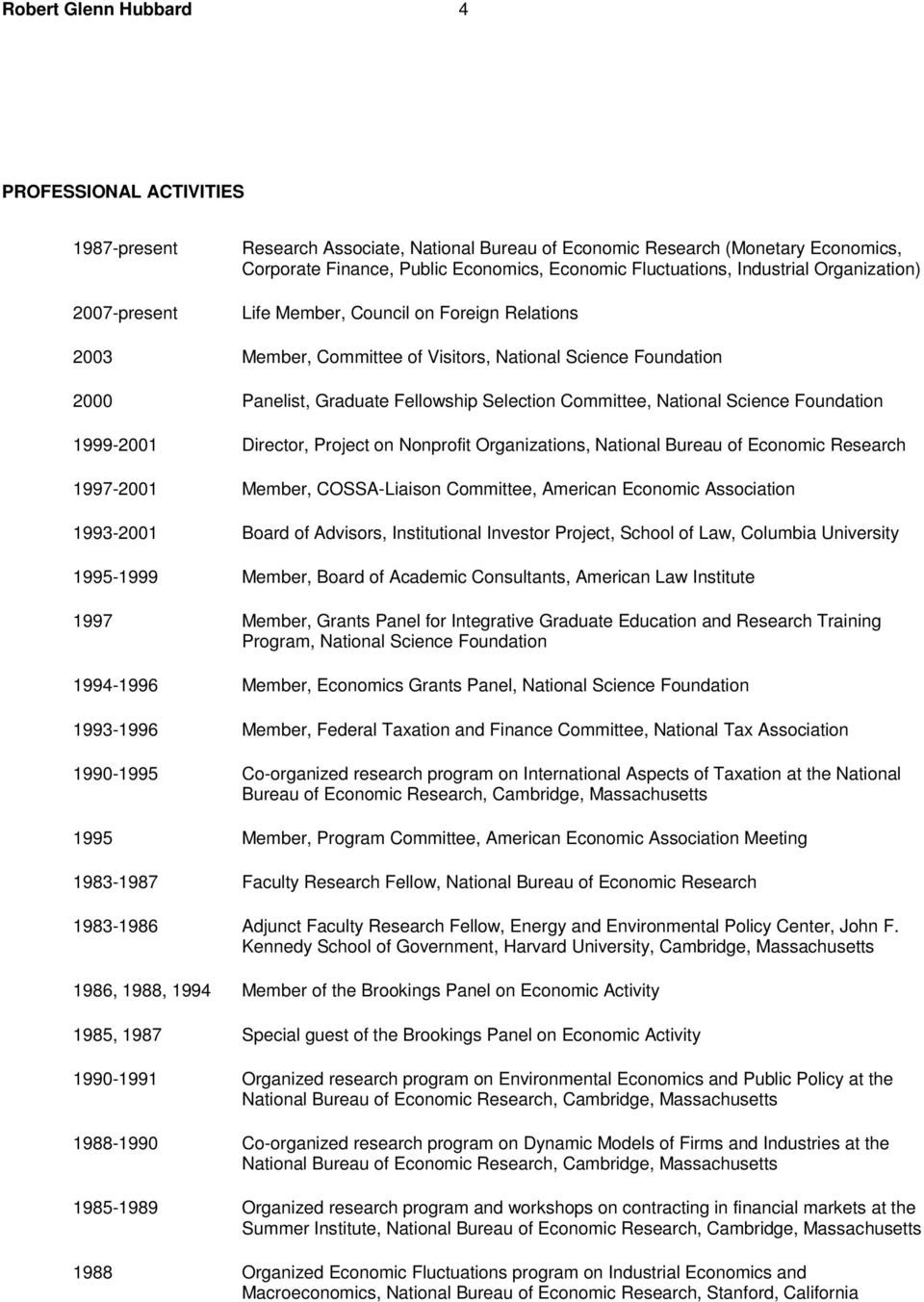 Committee, National Science Foundation 1999-2001 Director, Project on Nonprofit Organizations, National Bureau of Economic Research 1997-2001 Member, COSSA-Liaison Committee, American Economic
