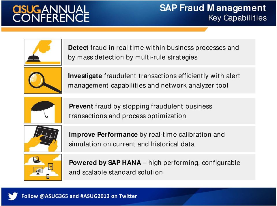 Prevent fraud by stopping fraudulent business transactions and process optimization Improve Performance by real-time